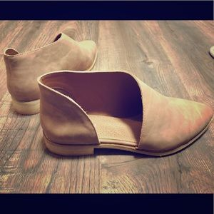Mimi Tan Leather Cut Out Shoes